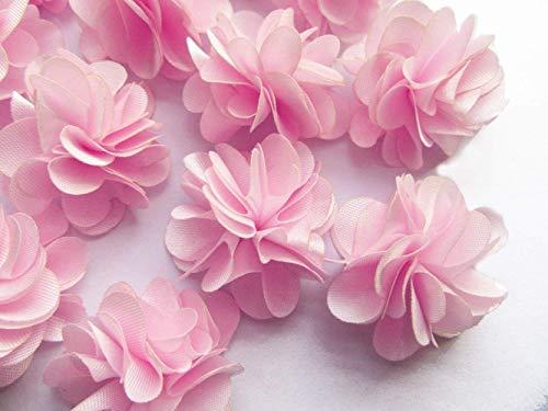 YCRAFT: 30 adorables mini flores de gasa para el pelo para manualidades y decoración de fiestas, 1.5'coral, 1.5'