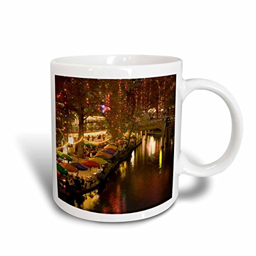 3dRose mug_94613_1 USA Texas San Antonio River Walk Area Evening US44 WBI0260 Walter Bibikow Ceramic Mug, 11-Ounce, - Antonio Texas Outlets San