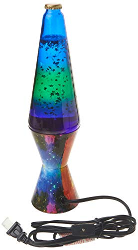 Lamp Lava 2600 14.5-inch, with Silver Glitter, Clear Liquid, Tri-Colored Globe, Decal Base Colormax Galaxy