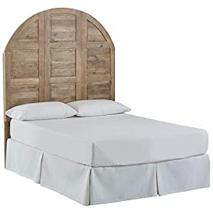 Amazon Brand – Stone & Beam Arced Rustic King Bed Headboard with Raised Panels - Queen, 64 Inch, New Whitewash