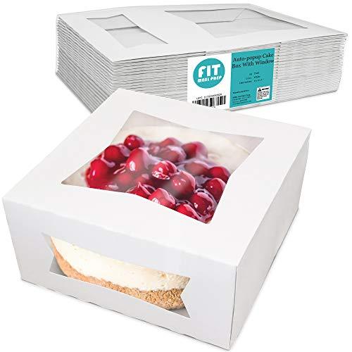 [25 Pack] Pie / Cake Box with Window 8x8x4