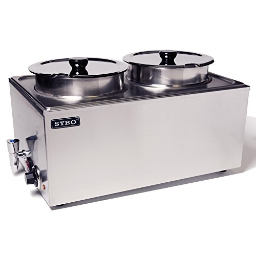 SYBO ZCK165BT-4 Commercial Grade Stainless Steel Bain Marie Buffet Food Warmer Steam Table for Catering and Restaurants, ((2 Round Pots with Tap), Sliver ()