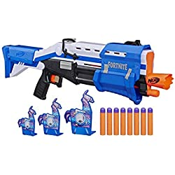 NERF Fortnite TS-R Blaster & Llama Targets -- Pump Action Blaster, 3 Llama Targets, 8 Official Mega Darts -- for Youth, Teens, Adults (Amazon Exclusive)