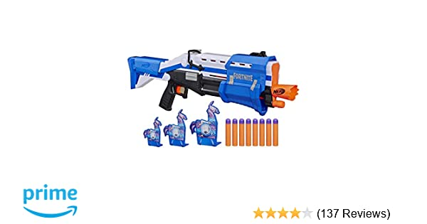 Nerf Fortnite TS,R Blaster \u0026 Llama Targets ,, Pump Action Blaster, 3 Llama  Targets, 8 Official Mega Darts ,, For Youth, Teens, Adults (Amazon