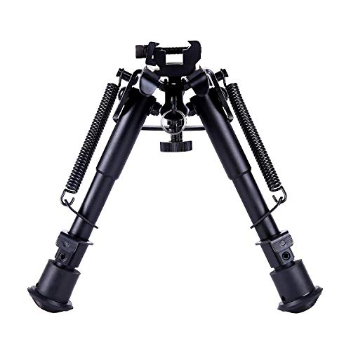 Ohuhu Tactical Rifle Bipod, Spring Return 6-9 Inches Adjustable Height with Picatinny Rail Mount Adapter for Sniper Hunting Shooting (Best Bipods Sniper Rifle)