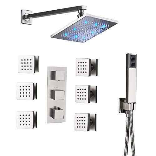 (Rozin Bathroom Thermostatic LED Light 8-inch Rainfall Shower Faucet Set Massage Body Sprays with Handheld Showerhead Brushed Nickel)