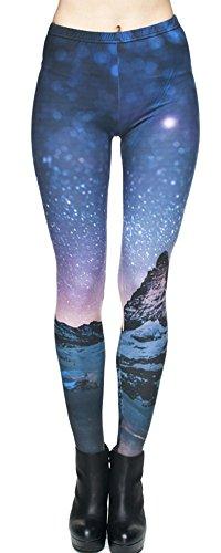 Ndoobiy Women's Printed Leggings Full-Length Regular/Plus Size Yoga Workout Leggings Pants Soft Capri L1(Starry Night PS)