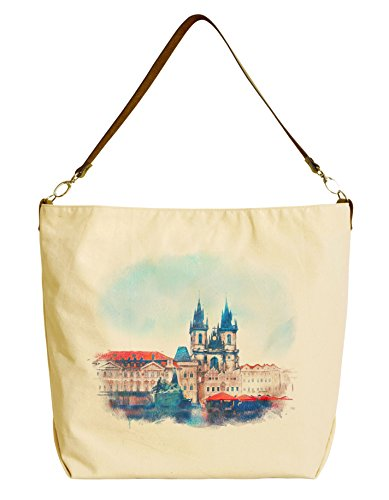 Old Prague. Czech Republic Printed Canvas Tote Bag with Leather Strap WAS_29 (Prague Leather Handbag)