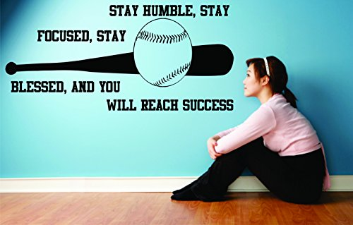 Softball Quotes Wall Decal Art for room or Bedroom Decals Sticker vinyl for girl and women's sports STAY HUMBLE STAY FOCUSED Size 12X20