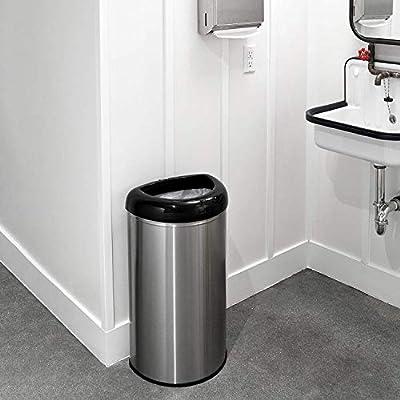 NINESTARS OTT-50-19BK Open Top Office Bathroom Trash Can 13 Gal 50L Stainless