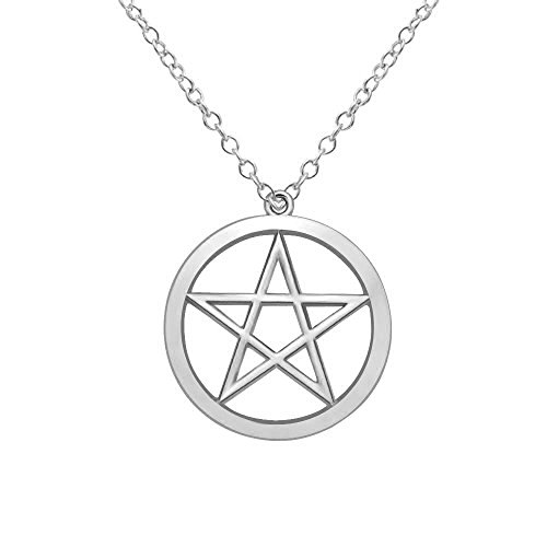 MANZHEN Gold Silver Supernatural Star Pentagram Pentacle Pendant Necklace Wicca Pagan Jewelry (Silver)
