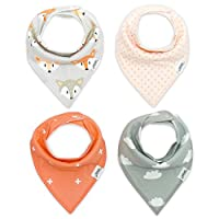 Baby Bandana Drool Bibs with Snaps for Girls, 4-Pack Organic Bib Set, Super A...