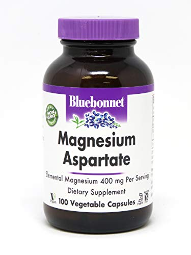 Bluebonnet Nutrition Magnesium Aspartate 400mg, 100 Vegetable Capsules