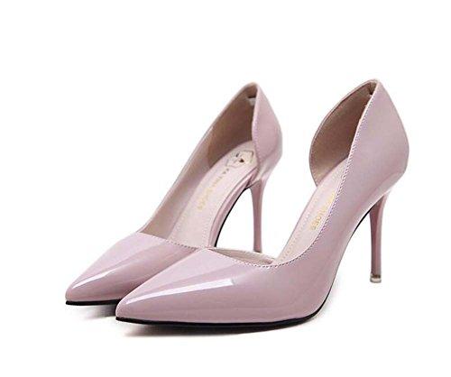 Bomba 8.5cm Scarpin punta Toe D'orsay tacones altos zapatos de vestir Zapatos de la boda Corte zapatos Eu Tamaño 34-40 Purple