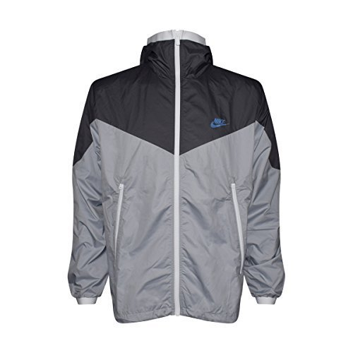 NIKE Mens Windrunner Hooded Full Zip Track Jacket (Dark Grey/Wolf Grey/White/Game Royal/Grey, Large) by NIKE