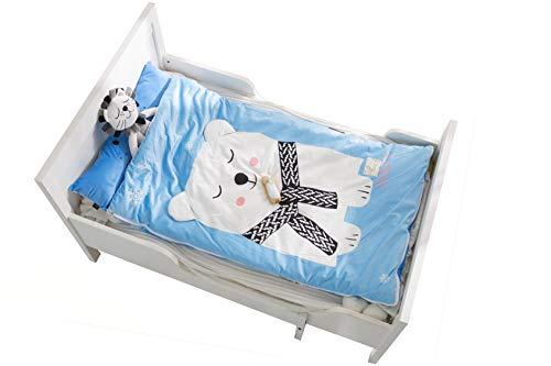 YAYIDAY Sleeping Bag Zipper Closure for Kids Toddler Nursery Plus Thick Autumn Winter Soft Warm Fleece Cotton Slumber Bag Nap Mat Blanket Girl Boy Sleep Sack for Travel Sleepover Blue -