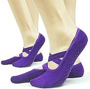 Gripper Pilates Barre Slipper Socks for Women 2 OR 4 Pairs Sticky Non Slip Grips Socks Yoga Ballet Sox