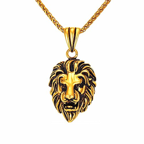 EuroLux Lion Boss Necklace Women/Men Jewelry Wholesale Trendy Platinum/18k Real Gold Plated Pendant (Gold) CA0012