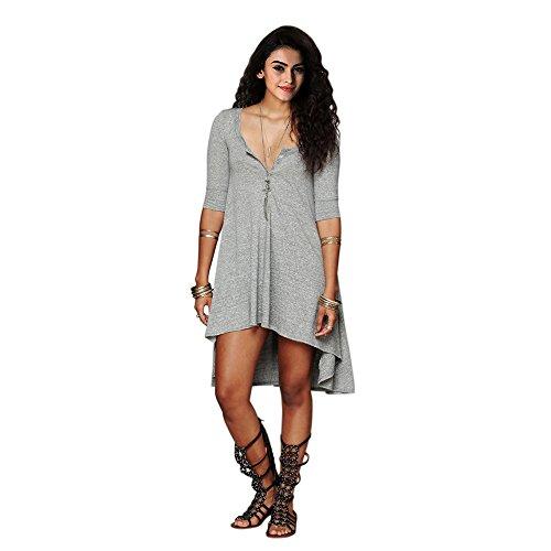 Loose Gray Low Fashion Top T Women's Tee shirt Dress Half High Sleeve CA x61HgYqw7