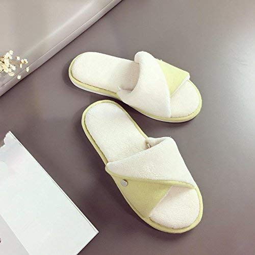 Yellow GouuoHi Womens Slippers Ladies Casual Cotton Slippers Home Interior Warm Slippers Yellow Solid color Simple Style Super Soft Plush Comfortable Slippers