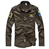 Allywit M-4XL Men's Casual Embroidery Military Pure Color Pocket Long Sleeve Shirt Tops Lightweight Thin Army Green