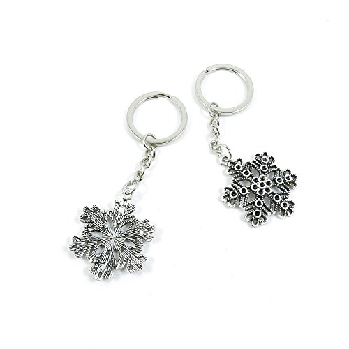 Snowflake Tag Charm - 20 Pieces Keyring Key Ring E6WH7 Snow Flake Snowflake Keychain Automotive Car Door Key Tags Findings Charms Chains