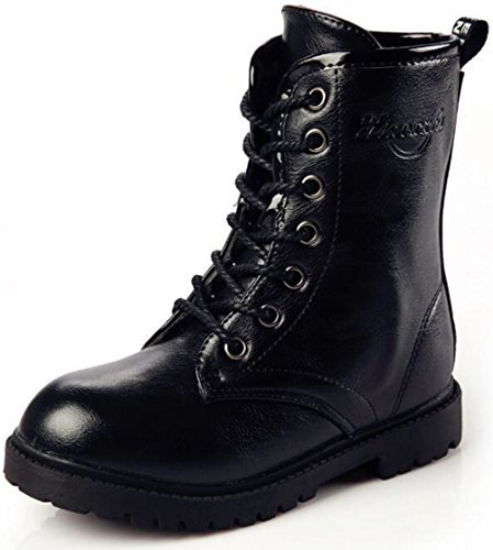 DADAWEN Boy's Girl's Waterproof Outdoor Combat Lace-Up Side Zipper Mid Calf Boots Black US Size 4 M Big Kid