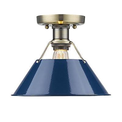 Golden Lighting 3306-FM AB-NVY Orwell Flush Mount - Damp, Aged Brass