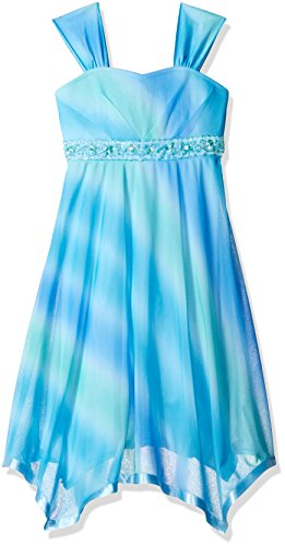 Speechless Big Girls' Ombre Badded Bodice Dress, Turquoise/Peri, 7