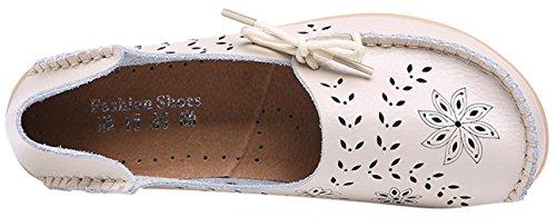 WENN FÜHLEN Frauen Flats Leder Driving Loafer Schuhe Beige-3