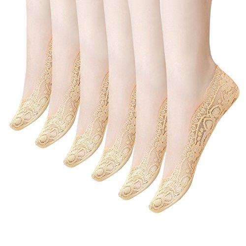 Women's Socks 3-6 Pairs Ultra Low Cut Nylon Casual Socks Slip Resistant Socks. (Beige-6)