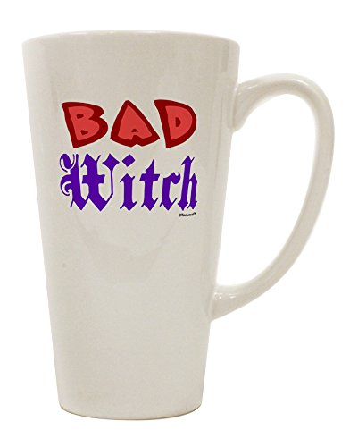 TooLoud Bad Witch Color Red 16 Ounce Conical Latte Coffee Mug (Scary Halloween Coffee Mugs)