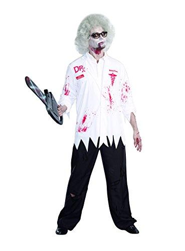 80's Themed Costumes For Men (Dreamguy Men's Dr. Hugh B. Dead Lab Coat Costume, White/Red, XX-Large)