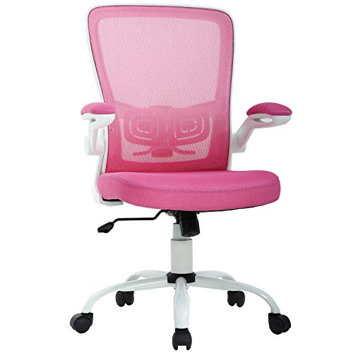 Chairs Office Pink - Office Chair Desk Chair Computer Chair Back Support Modern Executive Mesh Chair with Adjustable Armrest Rolling Swivel Chair for Home&Office, Pink