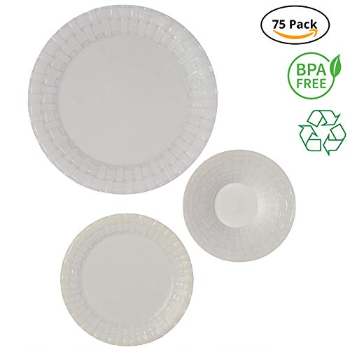 (Party Joy 75-Piece Plastic Dinnerware Set | Weave Collection | (25) Dinner Plates, (25) Salad Plates  & (25) Bowls| Heavy Duty Premium Plastic Plates for Wedding, Parties, Camping & More (White))