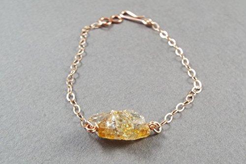 Raw Topaz Simple Bracelet Rose Gold Filled (Medium)