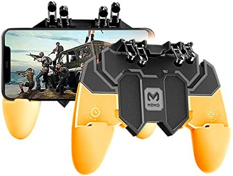 Newseego Mobile Game Controller, [Upgrade] Game Controller Gamepad with L1R1 6 Fingers Trigger for Shooter Sensitive and Aim Trigger Controller for Android & iOS for Knives Out-Yellow
