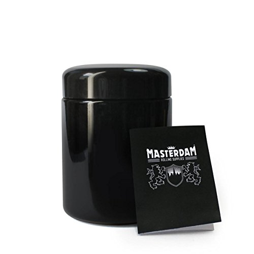 Masterdam Jars 250ml StashShield UV Glass Jar - Smell-Proof Ultraviolet Storage Stash Jar Container Refillable Tall - Jar Tobacco