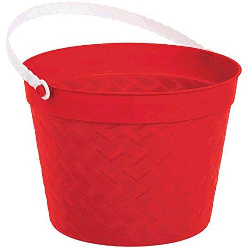 Amscan Egg-stra Special Easter Party Weave Design Bucket Favor, Red, 6