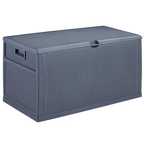 DOIT 120 Gallon Outdoor Patio Deck Box Plastic Wicker Storage Bench Box (Dark Grey)