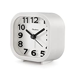 "Alarm Clock, Chelvee 2"" Quartz Analog Travel Alarm Clock with Night Light, Ultra Small, Silent with No Ticking (White)"