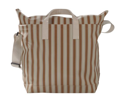 Beige Striped 55 X 38 With Cm vinyl Shoulder 041 Bag Shopping B Strap Handle Bagymania 191 wqF6Zfxv