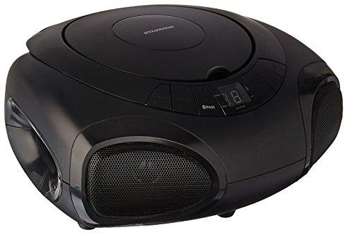 Sylvania Portable Bluetooth CD Player Boom Box with Radio and Blue LED Light