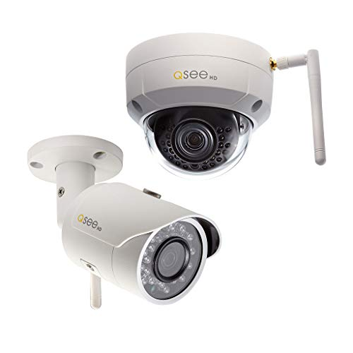 Q-See 3MP Wi-Fi Bullet and Dome Security Cameras, Night Vision, Indoor/Outdoor, White (QCW3MPEN-2) ()