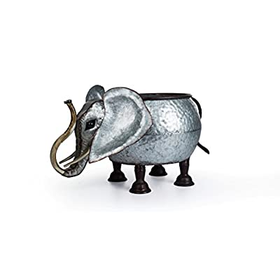 Lanperle Decorative Galvanized-Metal Elephant Planter | Garden Decoration | Gardening Gift/Souvenir | Metal Flower Pot/Vase Decor