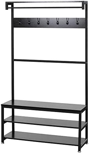 Industrial Modern Coat Rack with Shoe Bench, Vintage Shoe Coat Rack, Hall Tree Entryway ShelfWood Look Accent Furniture with Metal Frame, 3 in 1 Design with Stable Metal Frame Easy Assembly