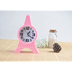 Analog Table Time Alarm Clock -Pink Cute Eiffel Tower Kids Clocks for Teen Girl