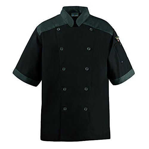 CookCool Top Trim Chef Coat Short Sleeve (Medium, Black)