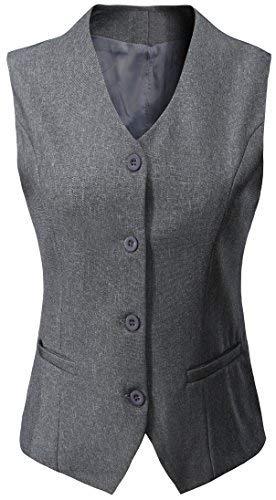 Vocni Women's Fully Lined 4 Button V-Neck Economy Dressy Suit Vest Waistcoat,Light Gray,US XL (Fit Bust 42.9