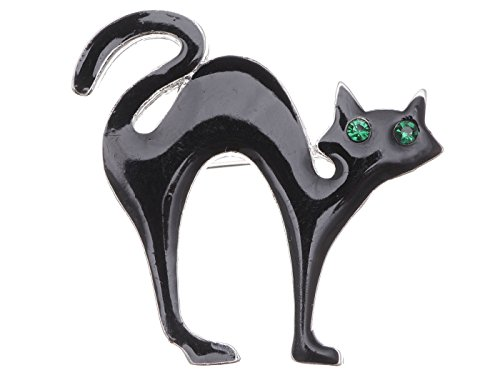 Alilang Emerald Green Colored Rhinestones Halloween Black Panther Kitty Cat Kitten Brooch (Girls Emerald Witch Costumes)